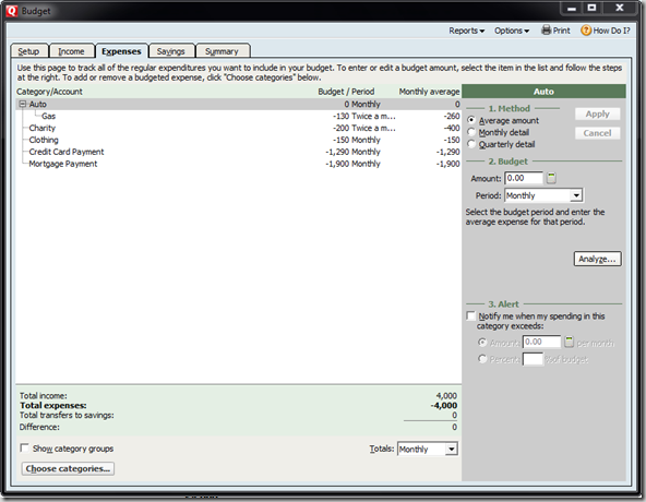 Setup your Quicken 2010 Budget
