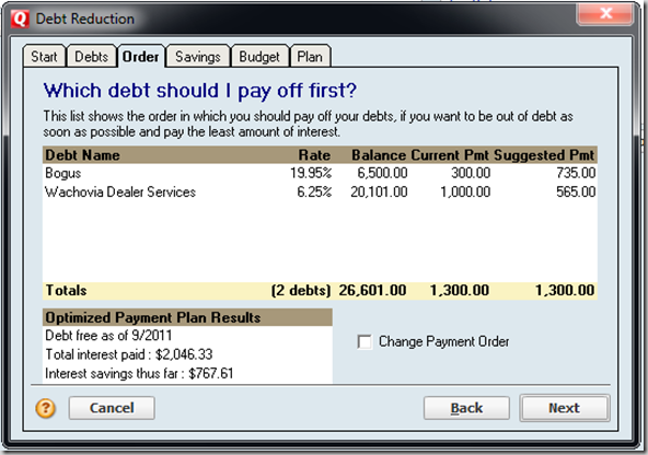 Quicken 2010 Review Debt Reduction Planner