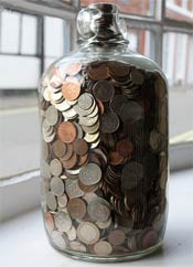 coin collection savings jar